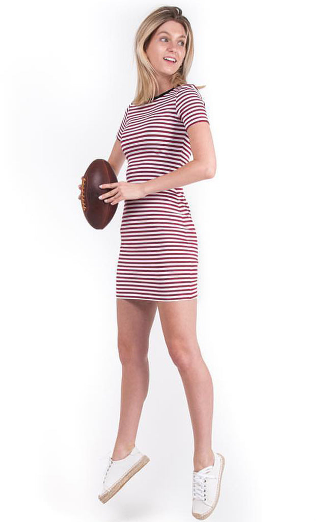 The Betty T-Shirt Dress - Maroon & Black