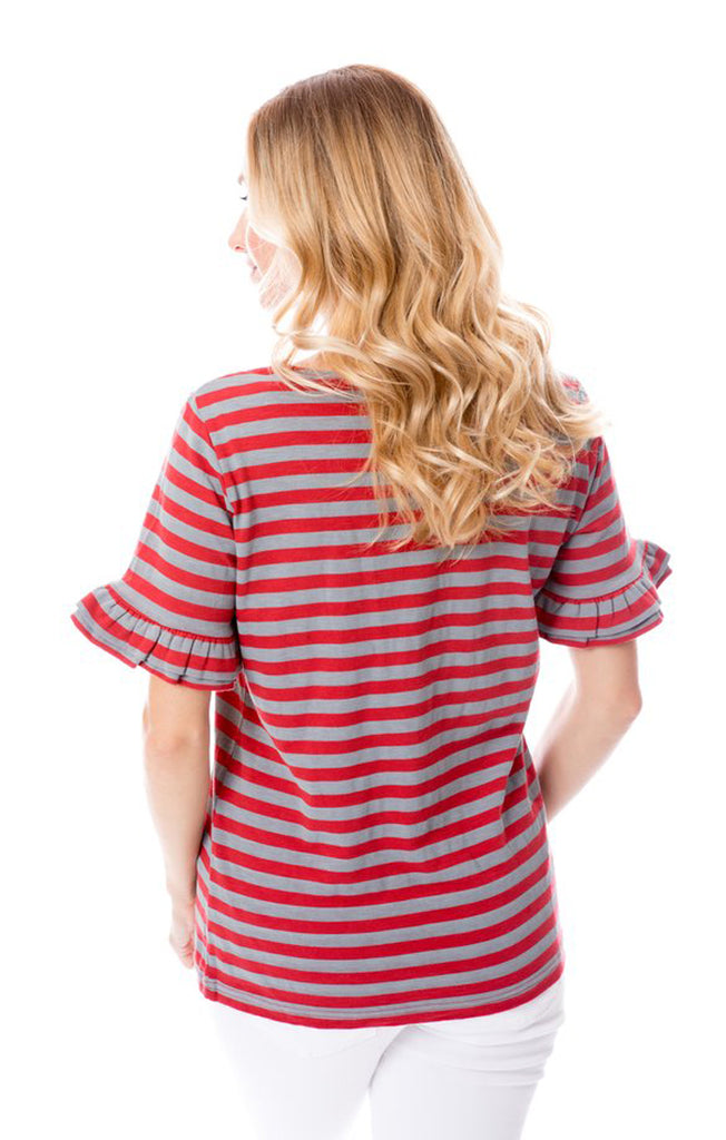 Crimson & Grey Ruffle Sleeve Tee