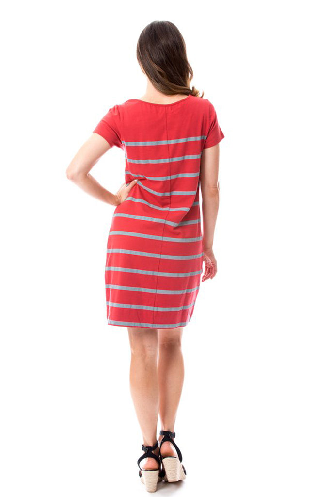 Short Sleeve Stripes Dress - Crimson & Grey