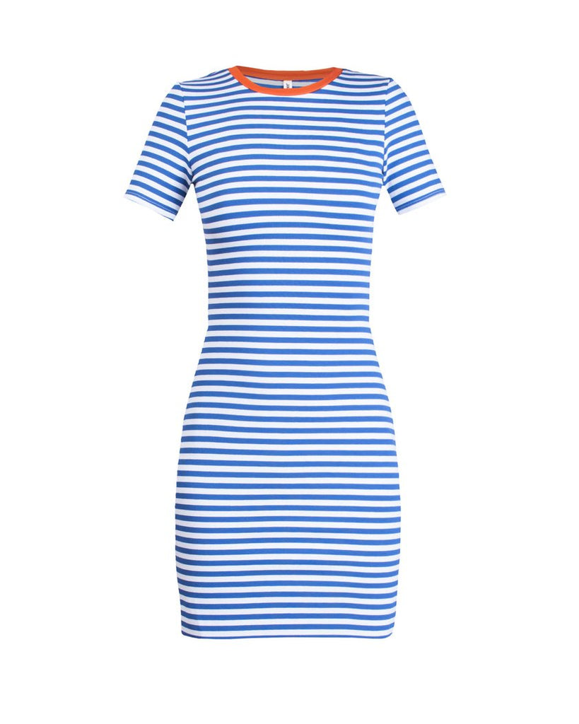 The Betty T-Shirt Dress - Royal Blue & Orange