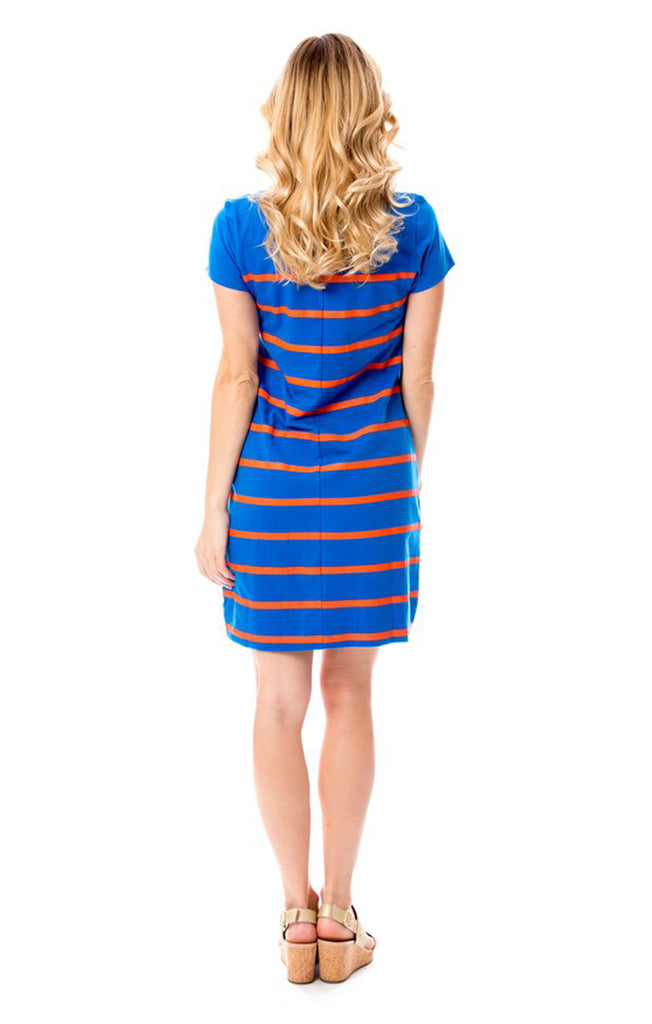 Short Sleeve Stripes Dress - Orange & Blue