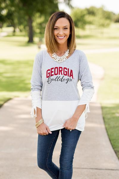 0289ee14 Georgia Bulldogs Calling the Shots Color Block Top. $56.00. Brand Game Day  Couture