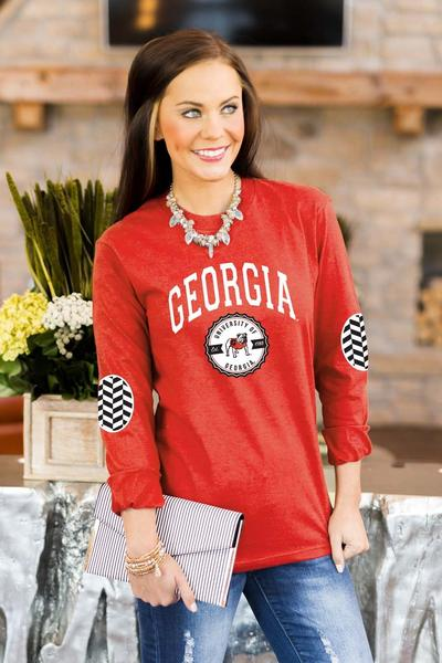Georgia Bulldogs Elbow Patch Tee - Red
