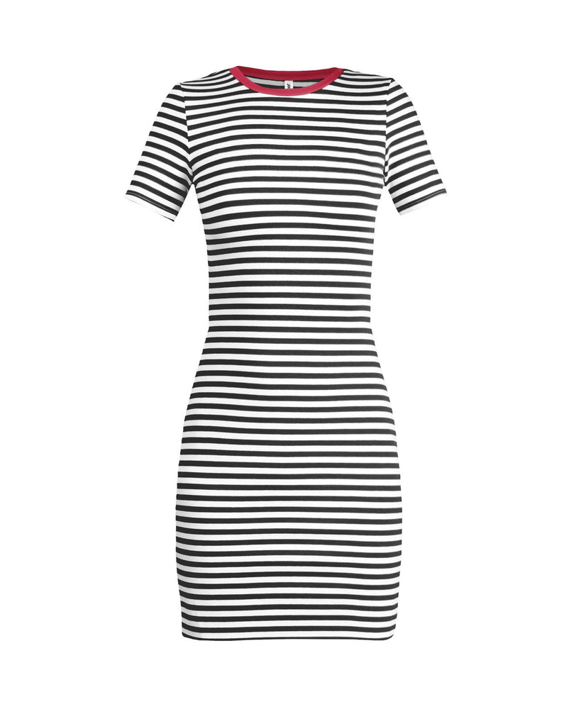 The Betty T-Shirt Dress - Red & Black