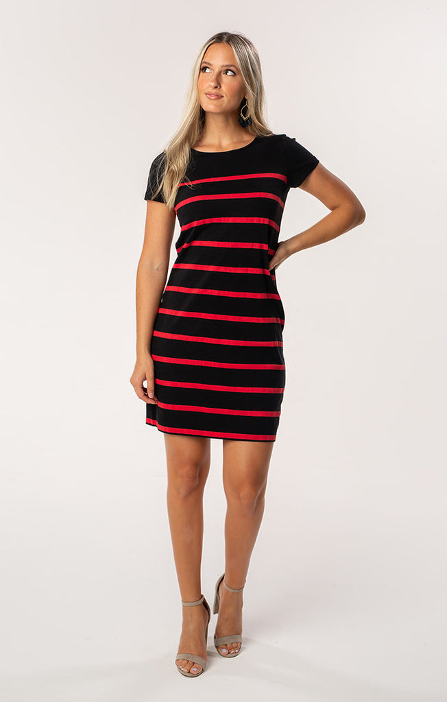 Short Sleeve Stripes Dress - Red & Black