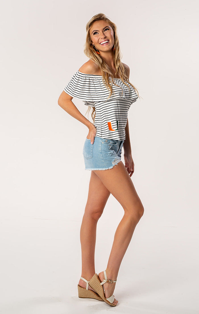 The Ryan Miami Off Shoulder Game Day Top (1378588885040)