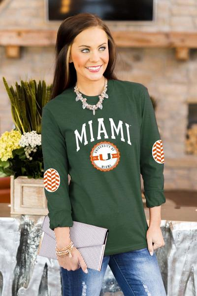 Miami Hurricanes Elbow Patch Tee - Green