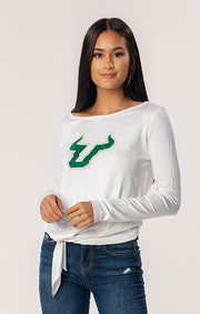 USF Bulls The Ella Long Sleeve Tie Front Tee (1482221977648)
