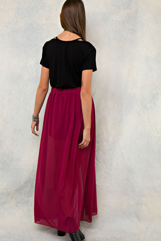 Wine High Waisted Maxi Skort