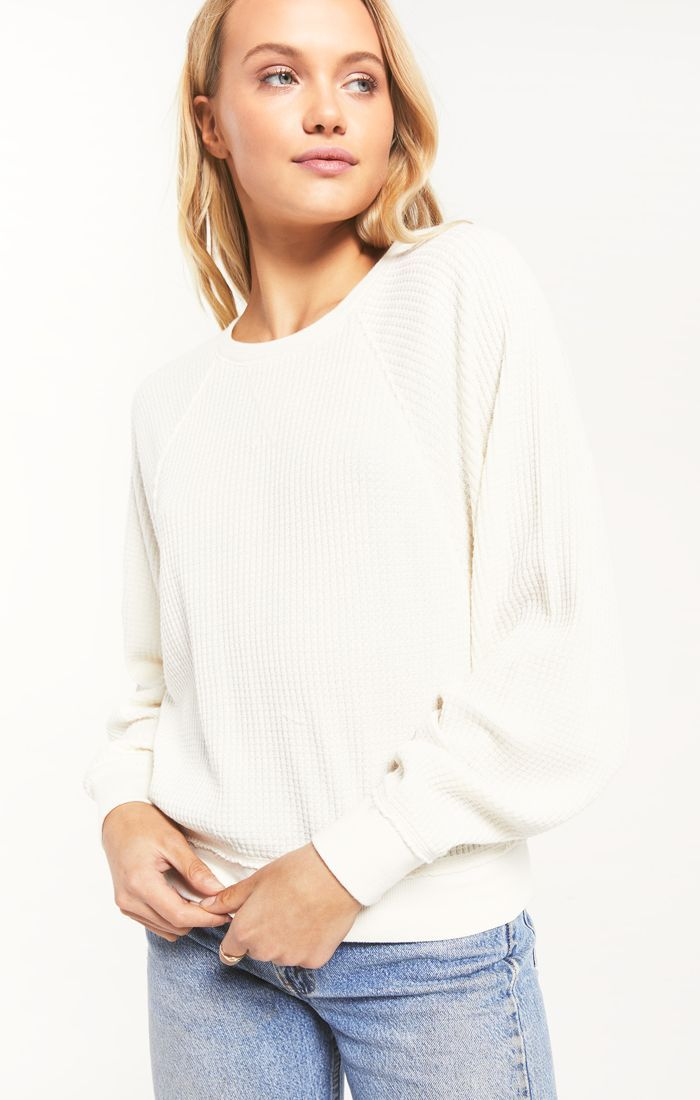 The Claire Waffle Long Sleeve (Bone)