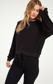 The Noa Marled Top (Black)