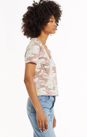 The Camo Skimmer Crop Tee (Mauve)