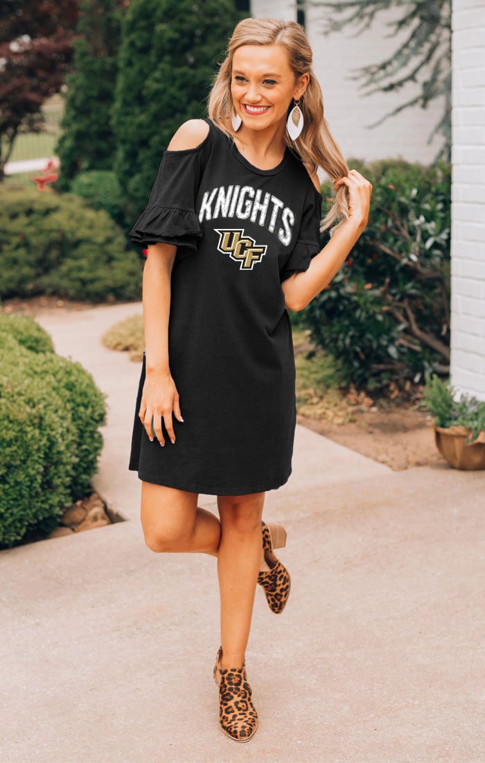 UCF Knights Adventure Awaits Cold Shouler Snow Washed Dress (3835837218864)