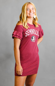 Seminoles Adventure Awaits Cold Shoulder Snow Washed Dress