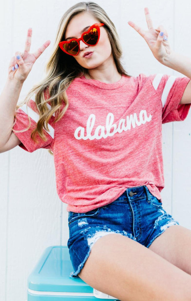 Alabama Fresh Script Jersey Tee Short Sleeve Tee Kickoff Couture - Bows and Arrows FSU Seminoles and UF Gators Women's Game Day Dresses and Apparel