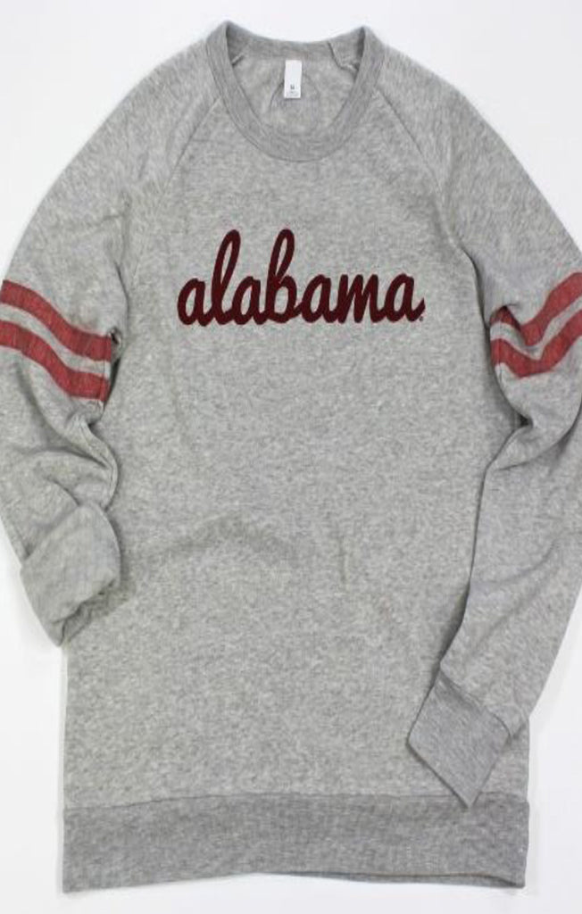 Alabama Fresh Script Jersey Pullover Sweatshirt Kickoff Couture - Bows and Arrows FSU Seminoles and UF Gators Women's Game Day Dresses and Apparel