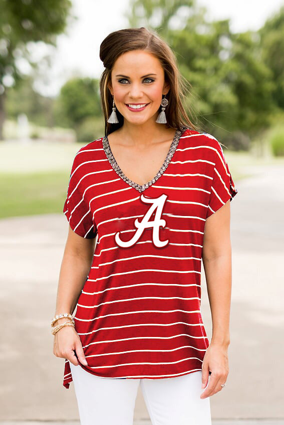 Alabama Pinstripe Beaded Tee Short Sleeve Tee Game Day Couture - Bows and Arrows FSU Seminoles and UF Gators Women's Game Day Dresses and Apparel