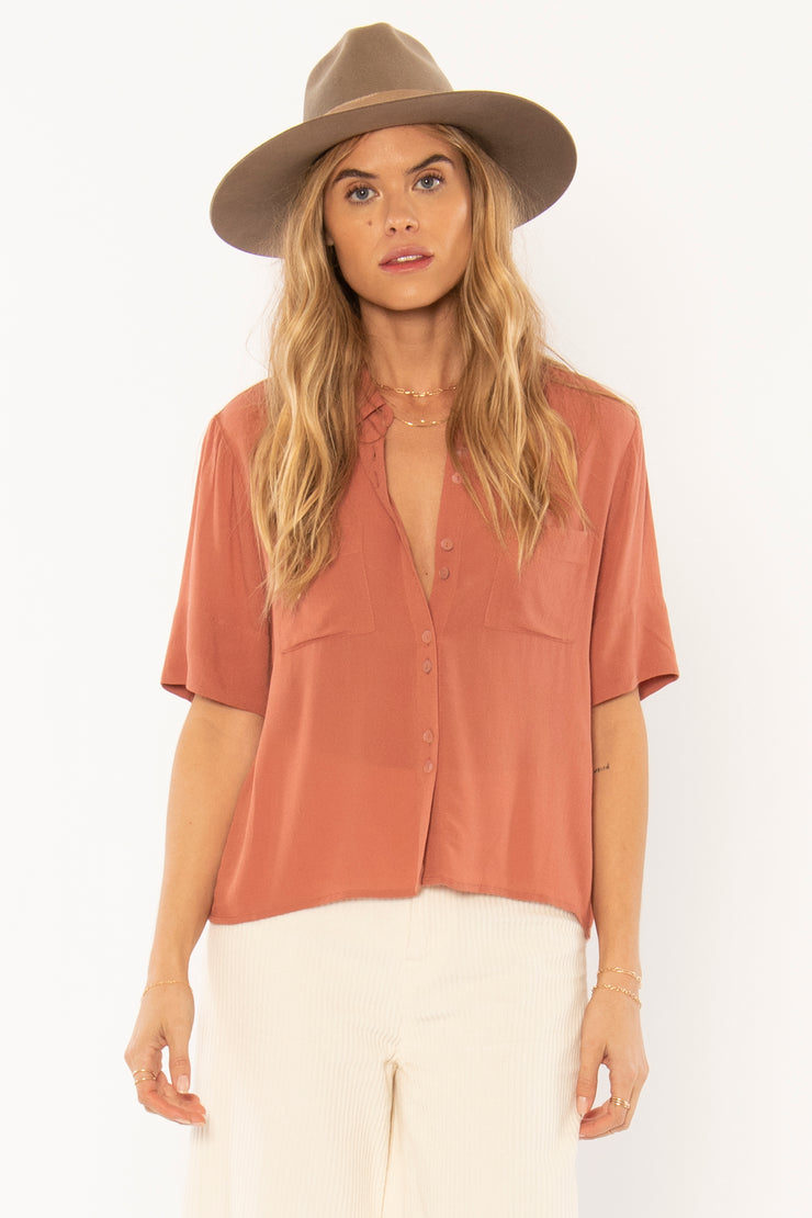 The Allora Woven Top - Terracota (3906005860400)
