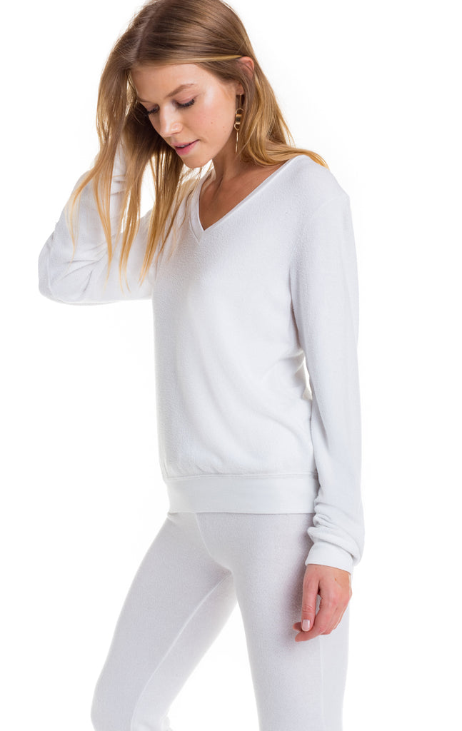 Baggy Beach V Clean White Sweater Sweater Wildfox - Bows and Arrows FSU Seminoles and UF Gators Women's Game Day Dresses and Apparel