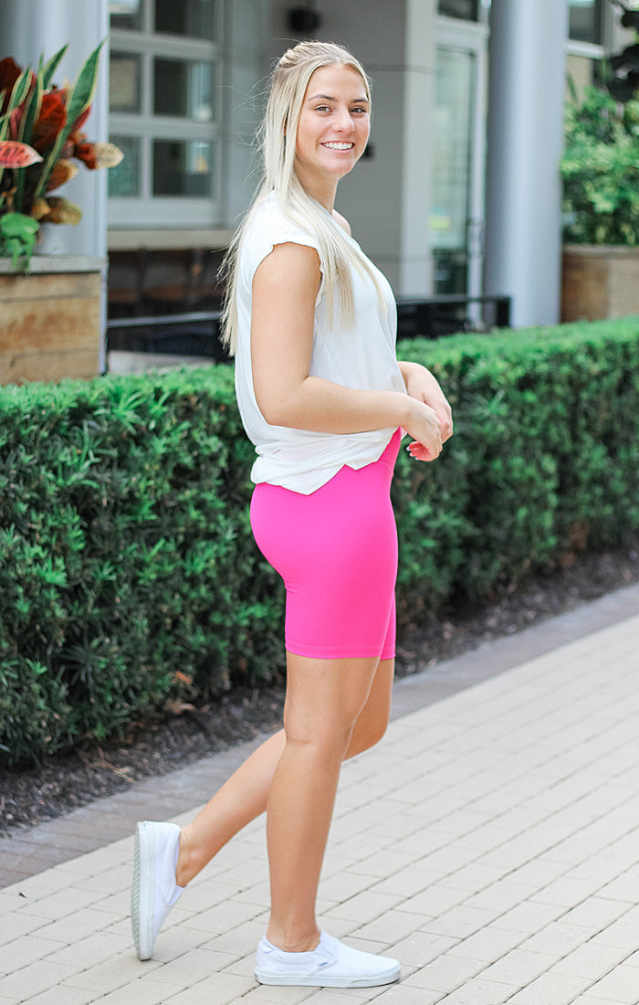 The High Waist Biker Shorts (Fuschia)