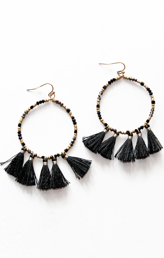 Black and Gold Beads and Tassels Earrings