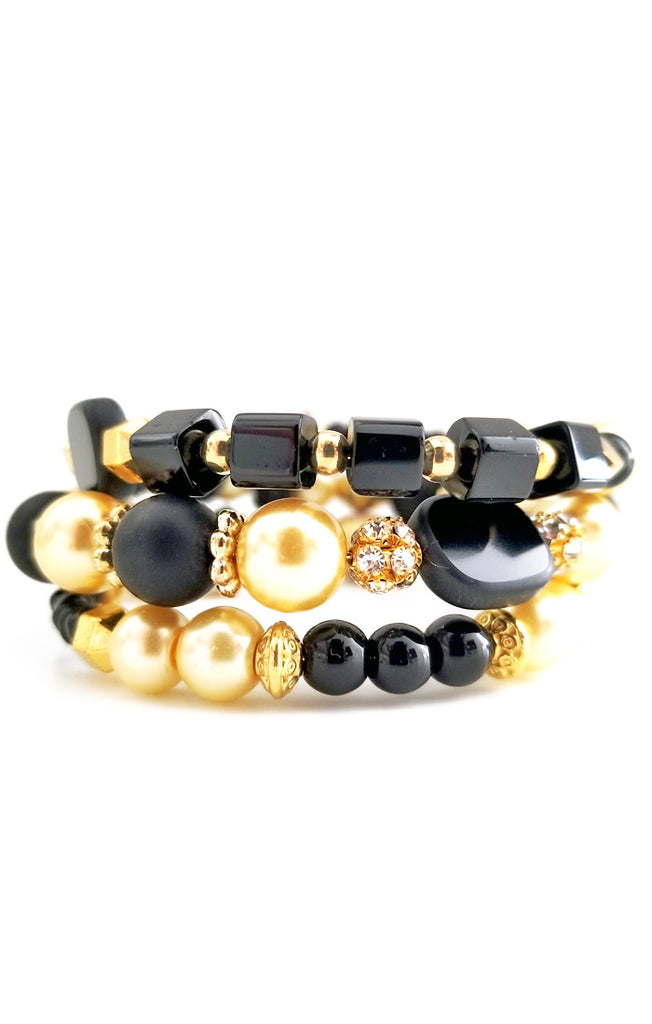 Black and Gold Wire Wrapped Bracelet