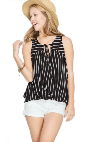 Black & White Striped Surplice Top