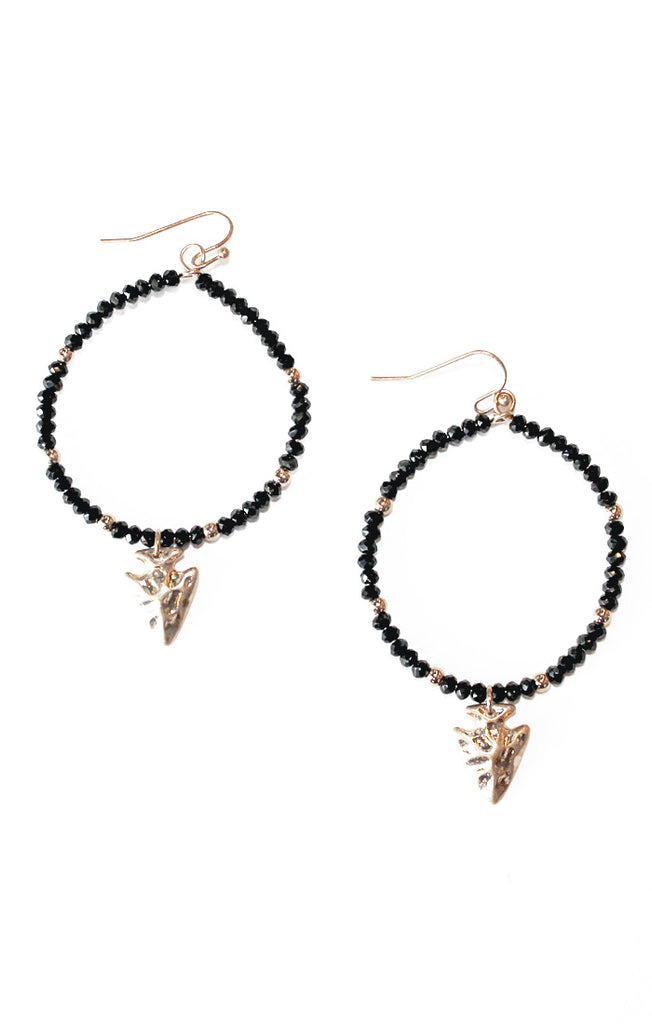 Black Beaded Arrowhead Earrings