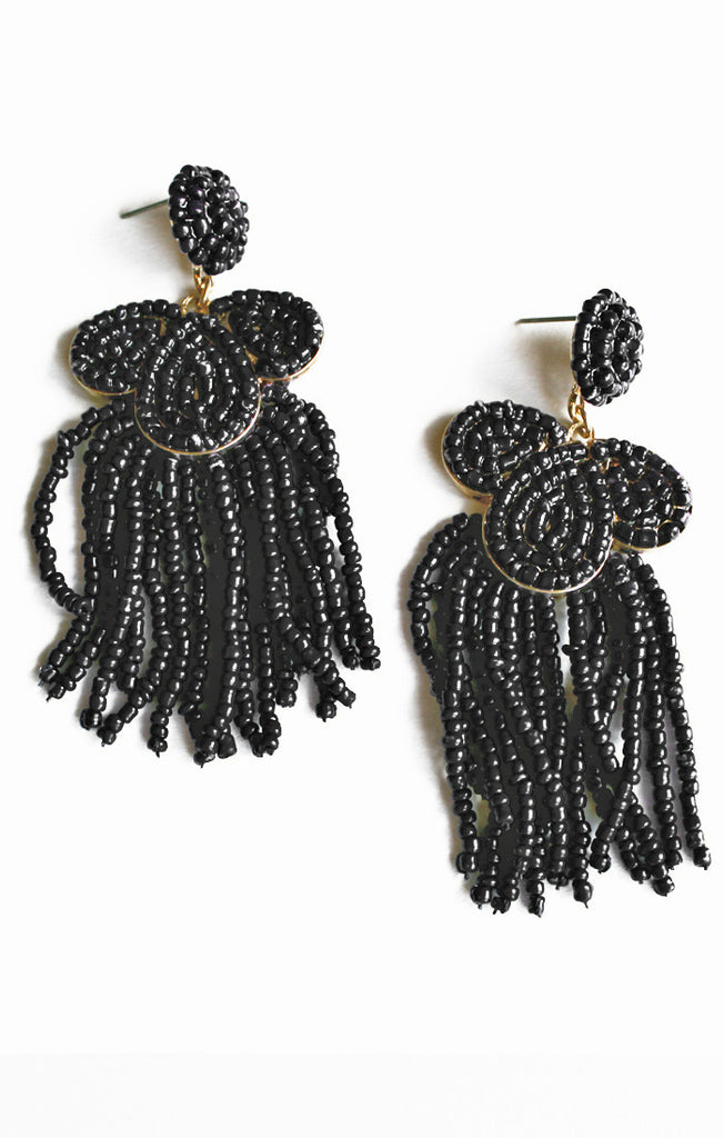 Black Seed Bead & Tassel Earrings