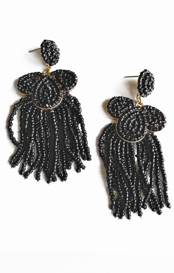 Black Seed Bead & Tassel Earrings (3812001579056)