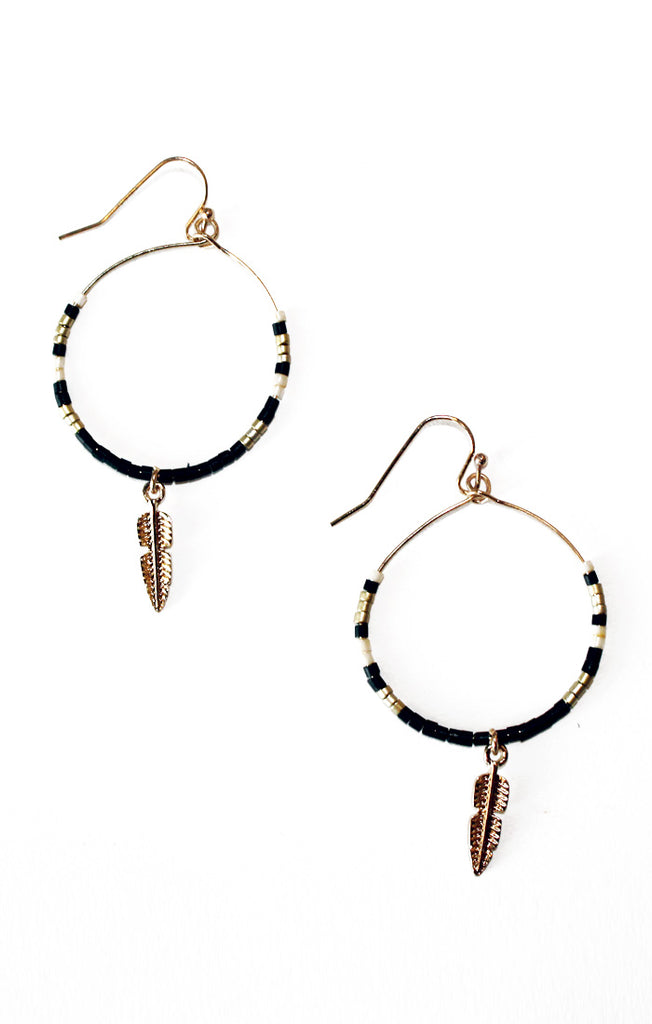 Black Circle Feather Earrings