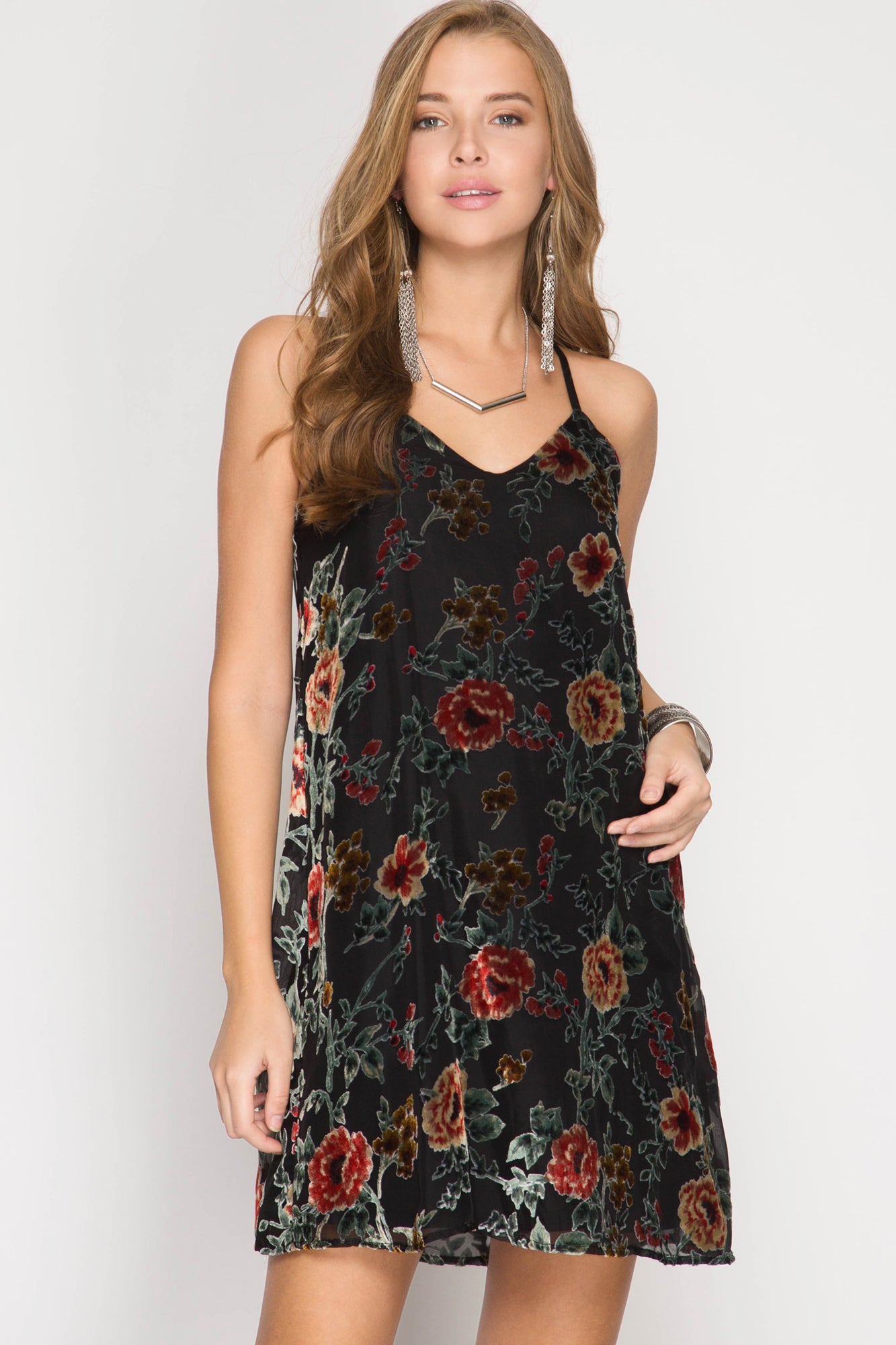 Black Floral Burn Out Velvet Cami Dress
