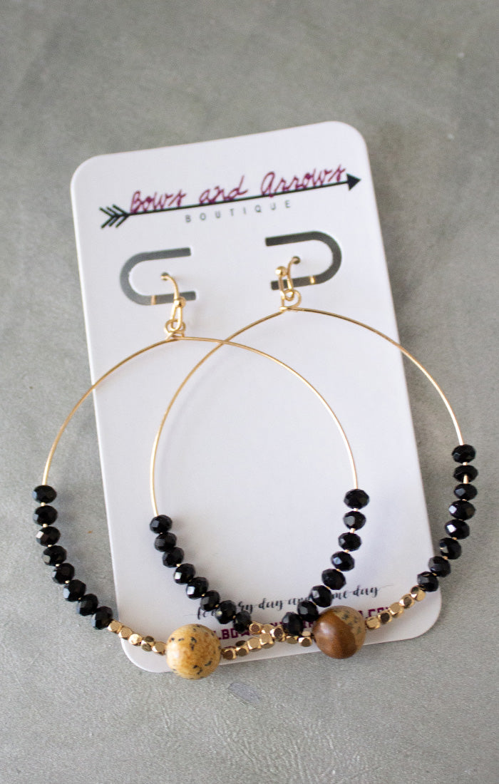 Gemstone & Bead Circle Earrings - Black