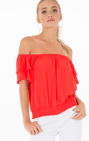 Aurora Poppy Red Off Shoulder