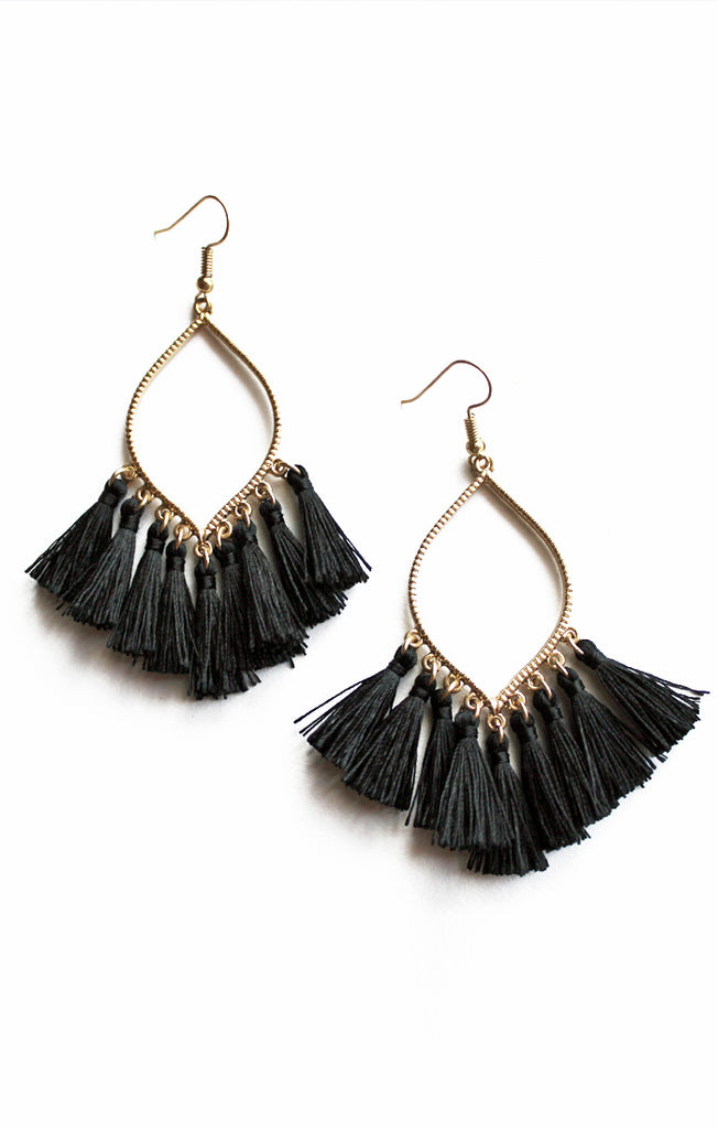 Black Marquise Tassel Earrings
