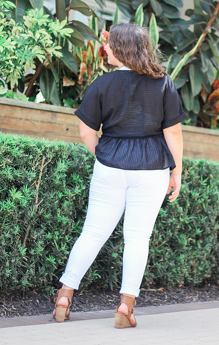 The Slouchy Peplum Tee (Black)