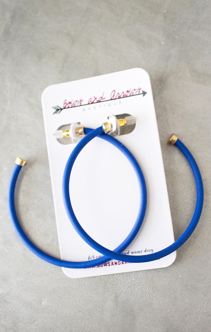 Color Coated Hoop Earrings - Blue (4440814190640)