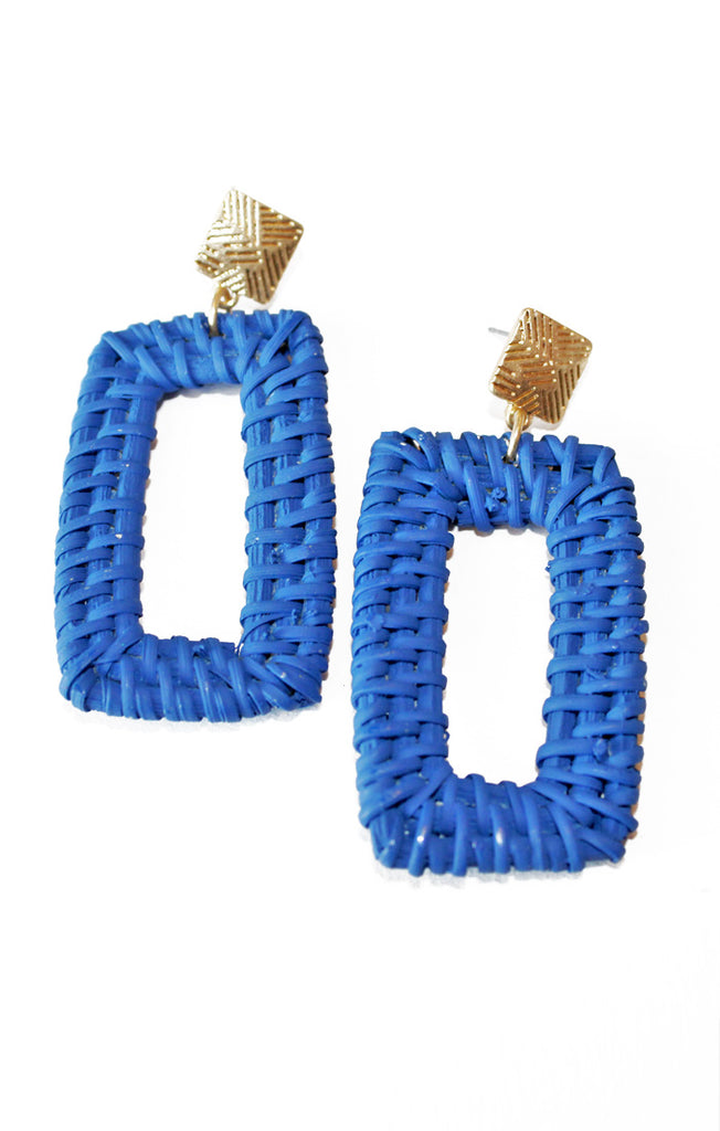 Royal Blue Rattan Earrings