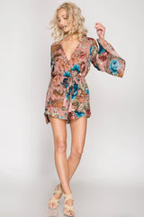 Blush Bell-Sleeve Floral Romper