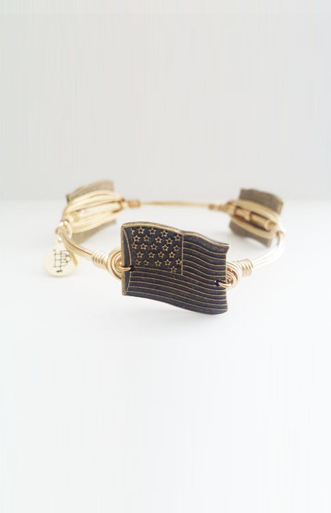 Bourbon and Boweties - Gold American Flag Bangle Jewelry Bourbon and Boweties - Bows and Arrows FSU Seminoles and UF Gators Women's Game Day Dresses and Apparel (6648285825)