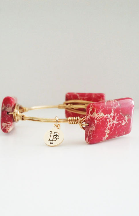 Bourbon and Boweties - Medium Red Marbled Bangle Jewelry Bourbon and Boweties - Bows and Arrows FSU Seminoles and UF Gators Women's Game Day Dresses and Apparel
