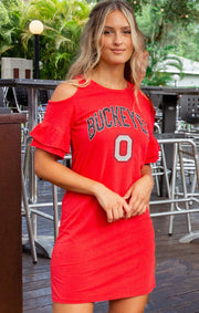 Ohio State Buckeyes Adventure Awaits Cold Shoulder Snow Washed Dress (3815533314096)