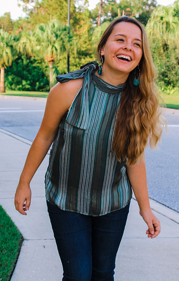 The Heather High Neck Top (Teal) (4327547338800)