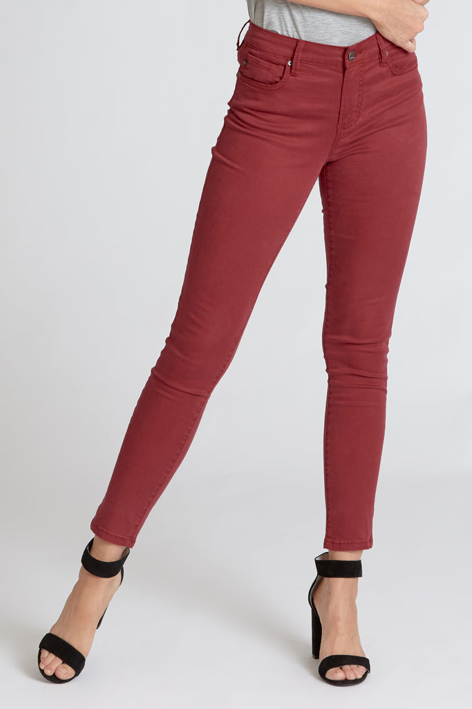 The Gisele Maroon High Rise Skinny Denim