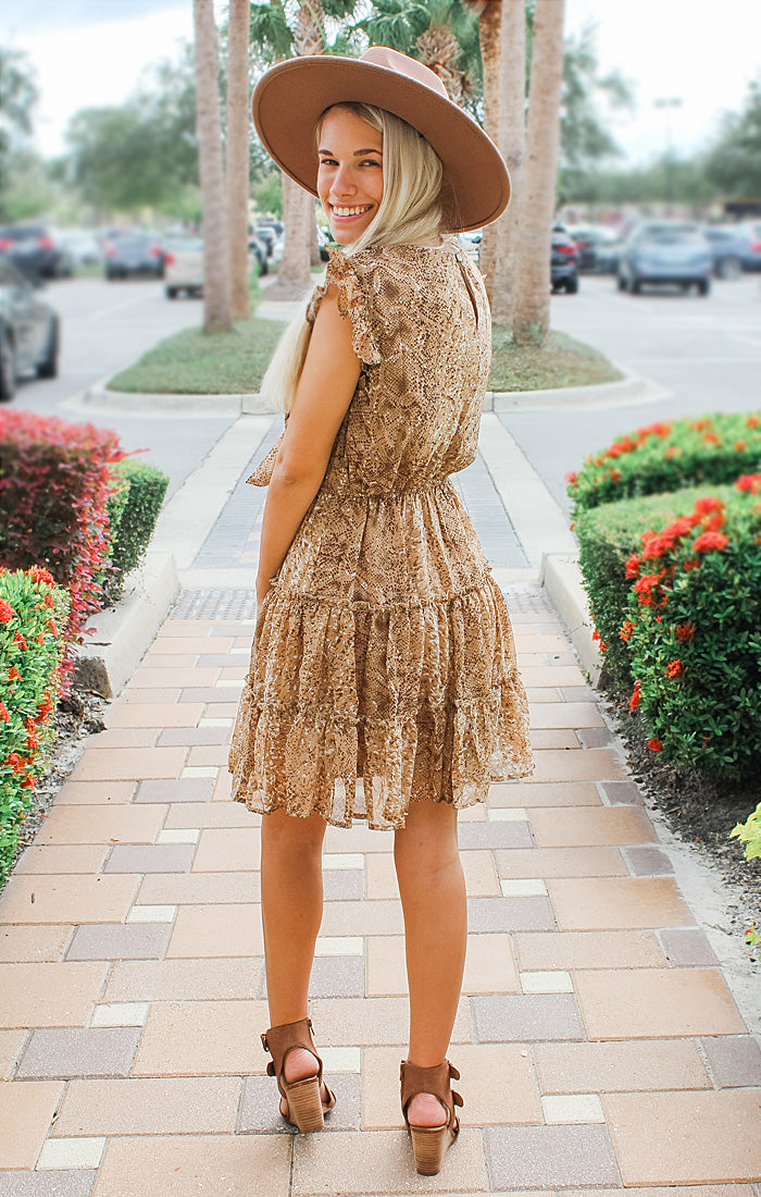 The Printed Camel Tiered Dress