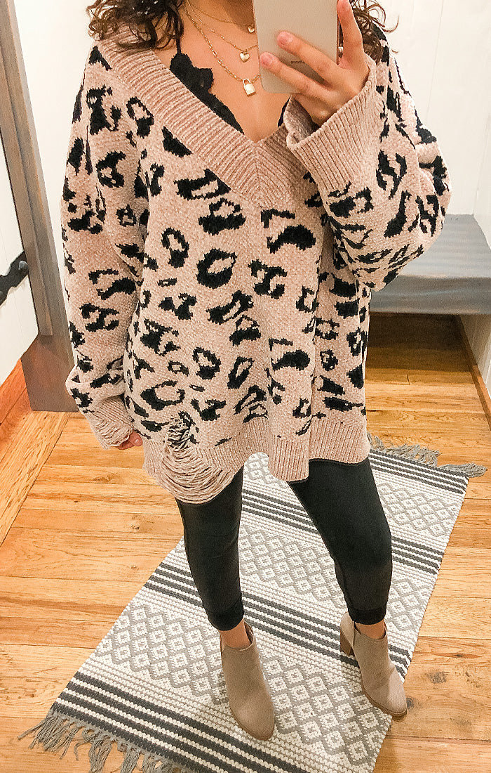The Mocha Leopard Distressed Chenille Sweater