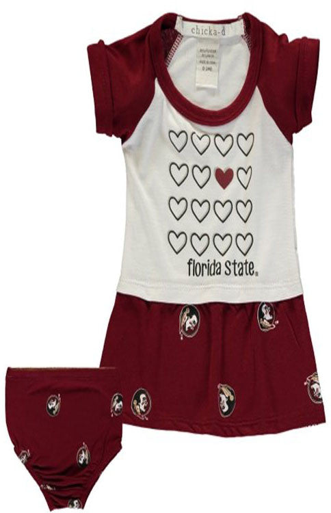 Love Florida State Infant Girl Game Day Dress Kids Chicka D - Bows and Arrows FSU Seminoles and UF Gators Women's Game Day Dresses and Apparel