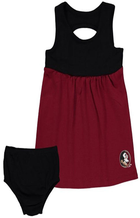 Seminoles Color Block Infant Girl Game Day Dress Kids Chicka D - Bows and Arrows FSU Seminoles and UF Gators Women's Game Day Dresses and Apparel