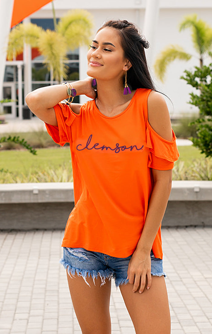 Clemson Pride Cold Shoulder Top (4177493327920)