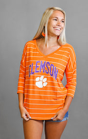 Clemson Tigers Fall in Love Stripe V-Neck Top